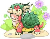 Fototapeta Dinusie - Cute little cartoon turtle dragon, funny illustration