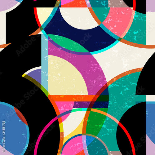 seamless abstract geometric background pattern, retro/vintage style, with cirles, strokes and splashes