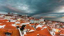 Early Morning, Sunrise With Clouds View From Viewpoint On Alfama, Lisbon