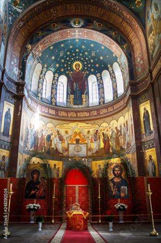 Valokuva  New Athos, Abkhazia Georgia Beautiful interior and dark painted frescoes of Novy