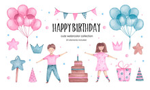Set Of Watercolor Happy Birthday Elements Balloos Girl Boy And Cake