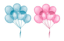 Watercolor Blue And Pink Ballo...
