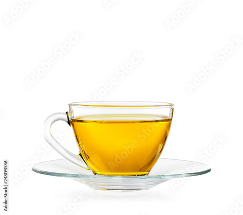 Fotografía  Glass cup of tea. Isolated on white background