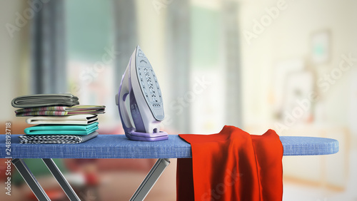 Valokuva modern iron on the ironing board near the ironed things in the stack 3d render i