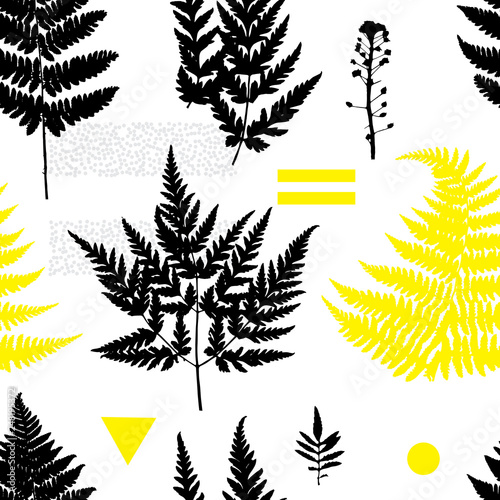 Foto  Botanical seamless pattern with plant elements on white