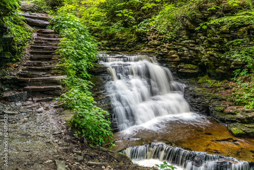 Mohican Waterfall in Ricketts Glen State Park of Pennsylvania