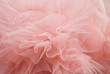 Bunch Of Powdery Pink Tulle In The Form Of A Flower
