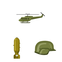 Vector Design Of Weapon And Gun Logo. Collection Of Weapon And Army Vector Icon For Stock.