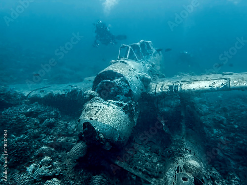 Jake Seaplane Wreck Underwater on Ocean Floor фототапет