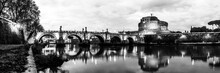 Panoramic Black And White Night View Of Castle Saint Angelo In Rome, Italy