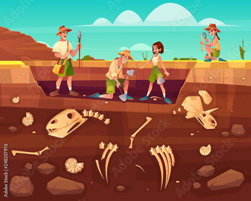 Archaeologists, paleontology scientists working on excavations, digging soil lay Wallpaper Mural