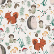 Seamless pattern with little squirrel, hedgehog, plants and mushrooms. Design in watercolor style for baby shower party, wallpaper, fabric. Cartoon characters. Vector illustration.