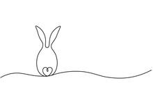 Easter Egg Bunny Rabbit One Line Drawing Vector Illustration.