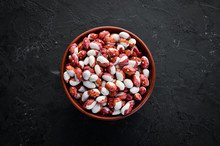 Raw Beans In A Bowl. Top View....