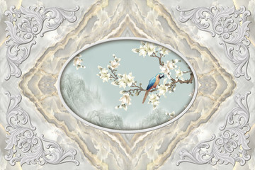 Fototapeta Na sufit 3d ceiling, stucco decor frame, parrot on a flowery branch in the middle on marble background