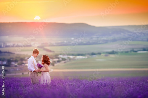 Photo Stands Melon Lavender flowers blooming field and two trees uphill. Valensole, Provence, France, Europe.
