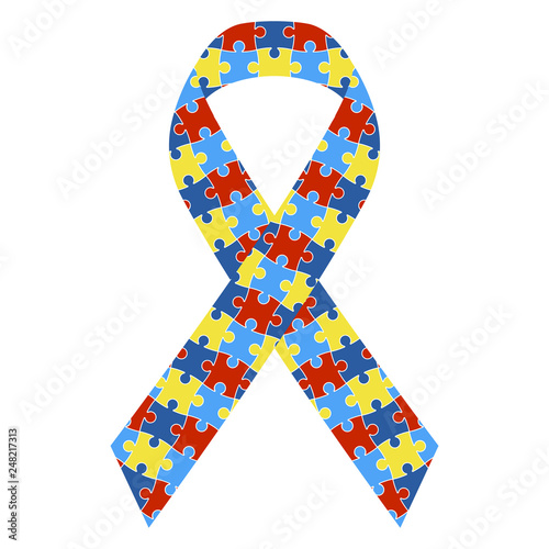 Autism Awareness Ribbon - Colorful autism awareness ribbon isolated on white bac Canvas Print