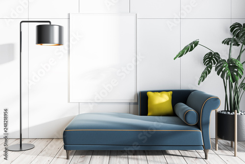 Valokuva  White living room with sofa and poster