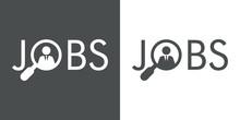 Icono Plano Abstracto Con Texto JOBS Con Hombre En Lupa En Gris Y Blanco