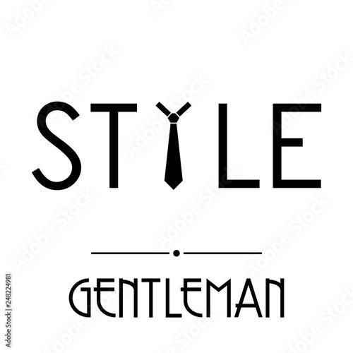 Fotografía  Logotipo abstracto con texto GENTLEMAN con texto STYLE con corbata en color negr