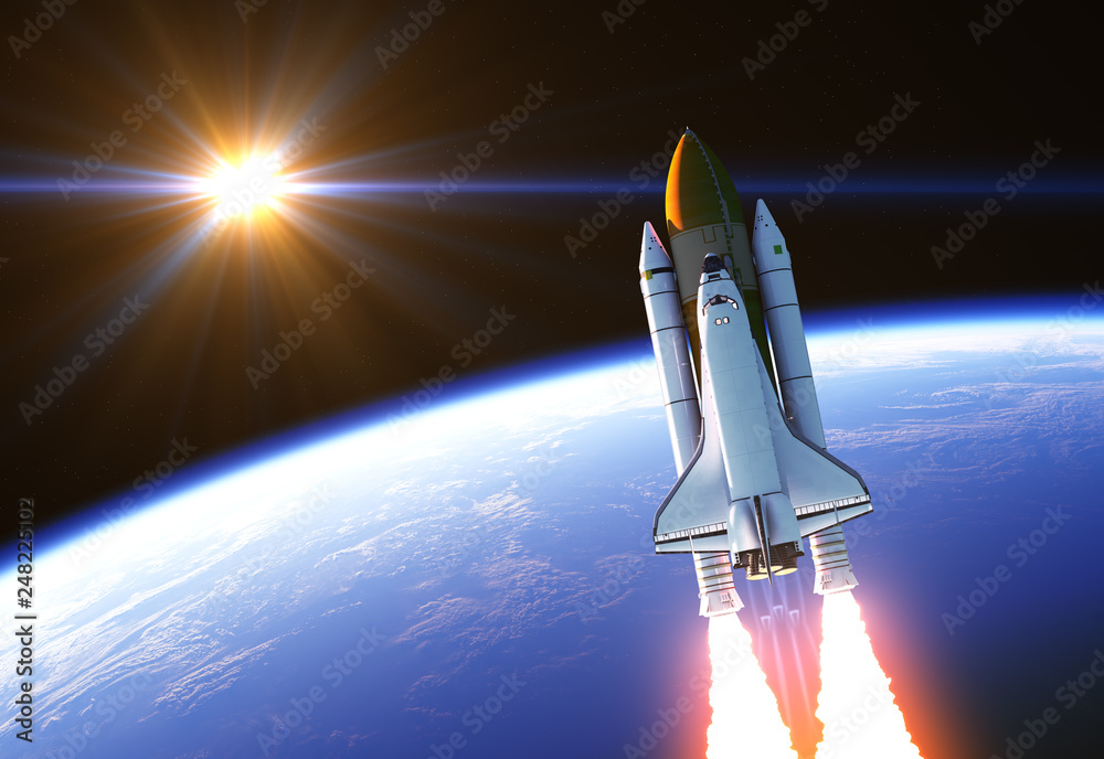 Fototapety, obrazy: Space Shuttle In The Rays Of Sun