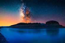 Milky Way Galaxy Above The Blue Lake.