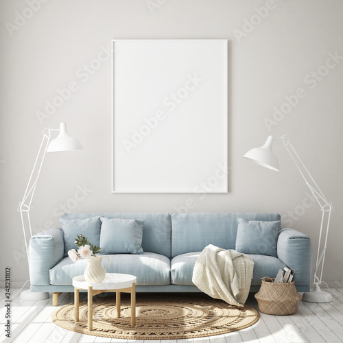 Fototapeta mock up poster frame in modern interior background, living room, Scandinavian style, 3D render, 3D illustration obraz na płótnie