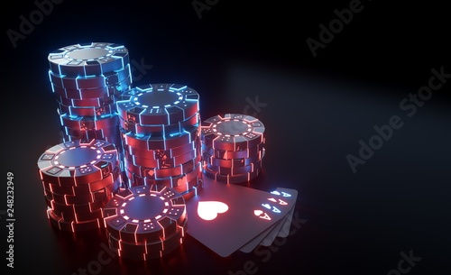 Valokuvatapetti Casino Chips Concept With Futuristic Neon Lights - Isolated On The Black Backgro