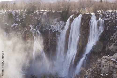 Fényképezés  Long exposure shot of massive waterfall