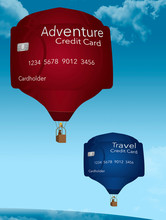 Hot Air Balloons That Look Like Credit Cards Illustrate Using Cards For Vacation, Fun, Travel And Adventure.