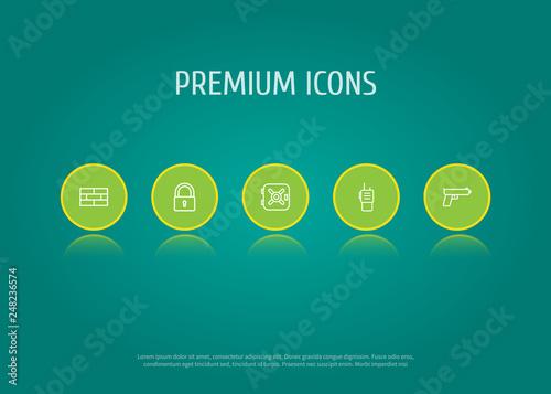 Fotografía  Set of 5 procuring icons line style set