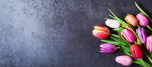 Tulips Bouquet On Dark Grey Ba...
