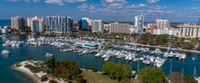 Drone View Of Marina Jack From Bayfront Park Looking North At The Sarasota High Rise Landscape