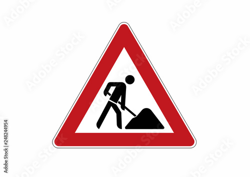 Fotomural construction site sign - traffic sign