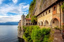 Monastery Of Santa Caterina Del Sasso On Lago Maggiore Lake, Italy