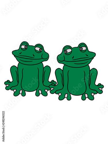 2 Freunde Team Paar Frosch Sizend Süß Niedlich Lustig Comic Cartoon