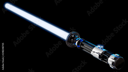 3D Rendering of a Laser Sword with Blue Glowing Blade. Canvas Print