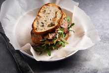 Roast Beef Sandwich With Rugula And Mustard