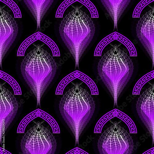 Fotografie, Obraz  Halftone glowing colorful greek vector seamless pattern