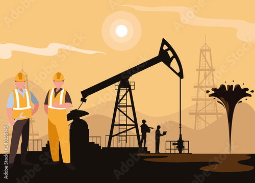 oil industry scene with derrick and workers Wallpaper Mural