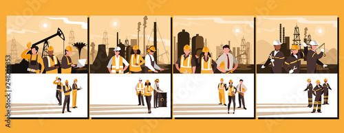 Fotografie, Obraz  oil industry group scenes and workers