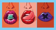Set Of Sexy Woman Mouths Pop A...