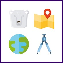 4 North Icon. Vector Illustration North Set. Polar Bear And Map Icons For North Works