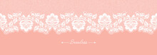 Vintage Coral Floral Seamless Lace Trim Banner, Great Design For Any Purposes. Decorative Ornate Header With Flower. Modern Fashion Pattern. Vector Abstract Graphic Design. Flower Graphic Border.