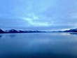 Resurrection bay and Seward Alaska before sunset in the winter