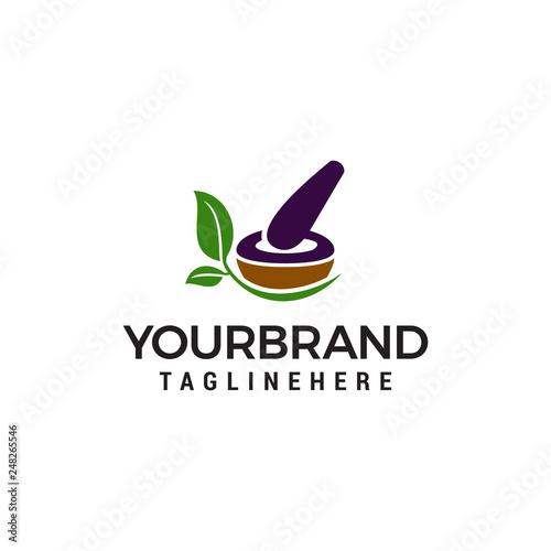 Fotomural pharmacy medical logo, natural mortar and pestle logotype