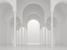 Modern White Space Interior With Asch Shape 3d Render