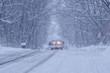 Snow covered street at Minneapolis / St. Paul areas in Polar Vortex