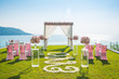 canvas print picture - Romantic wedding ceremony on the lawn Sea view.