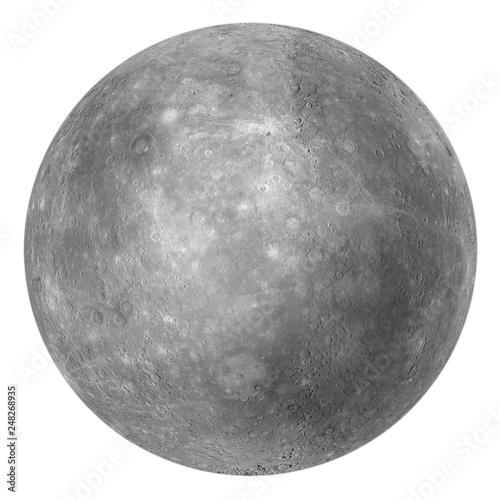 Fotografie, Obraz  Full disk of Mercury globe from space isolated on white background